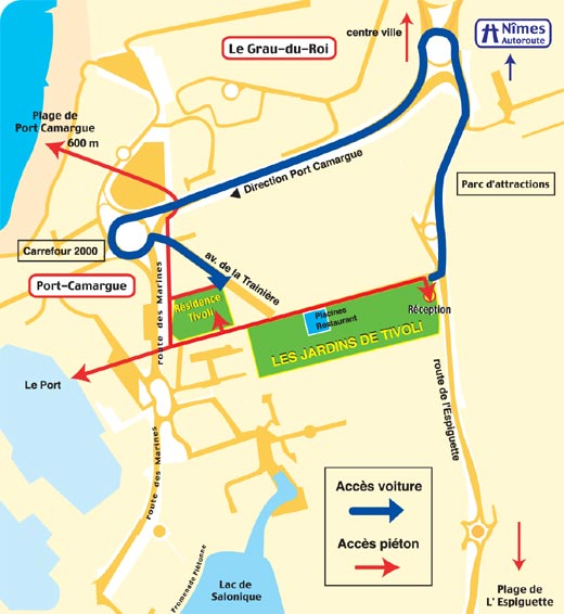 Plan d'accès les jardins de tivoli
